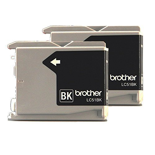 Fax2480c Inkjet Printers - Genuine Brother LC-51 Black 2 Pack for Brother DCP-130C Fax-2480C IntelliFax-1360 IntelliFax-1860C MFC-240C MFC-465CN MFC-665CW MFC-845CW MFC-3360C MFC-5460CN MFC-5860CN LC51