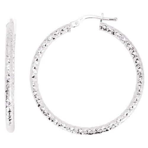 So Chic Bijoux © Boucles d'oreilles Femme Créoles Diamantées Diamètre 30 mm Fil Rond 2,5 mm Or Blanc 750/000 (18 carats)