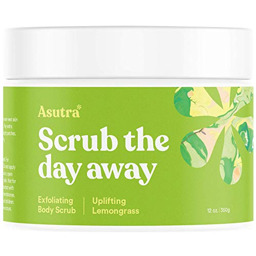 Asutra, Organic Exfoliating Body Scrub, Uplifting Lemongrass, 100% Dead Sea Salt Scrub, Ultra Hydrating and Moisturizing Scrub, Skin Smoothing Jojoba, Sweet Almond, and Argan Oils, 12 oz. Jar
