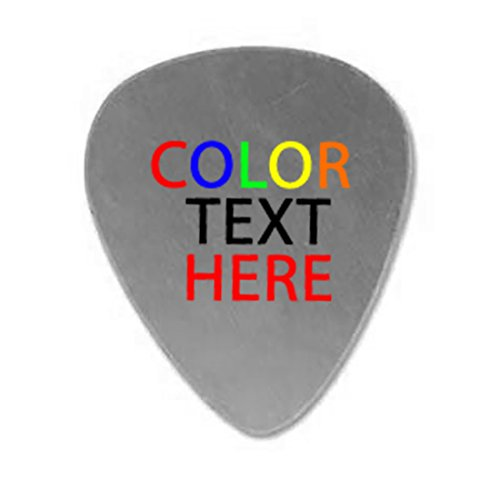 Personalized Add Your Own Color Printed Text Guitar and Bass Pick Custom Customizable Gift SILVER Aluminum