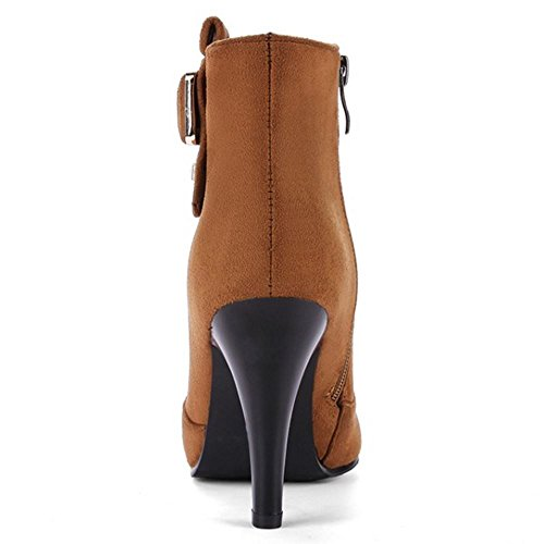 Yellow Solid Footwear Boots High Zipper Women KemeKiss Fashion Heel Brown qwZv87En