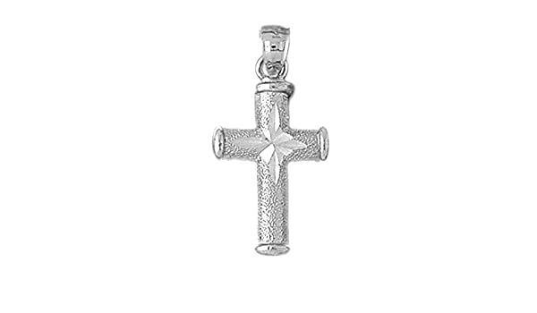 925 Sterling Silver Rhodium Plated Hollow Latin Crucifix Pendant