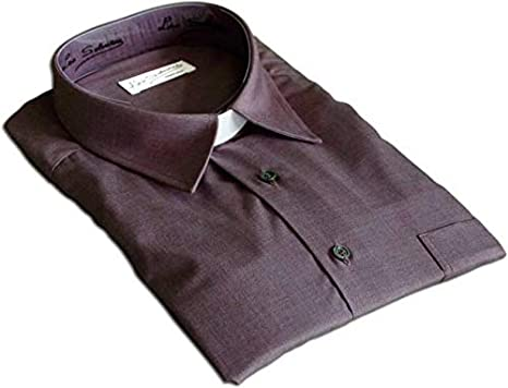 Camisa gris oscuro con cuello pala(manga corta, 44): Amazon ...