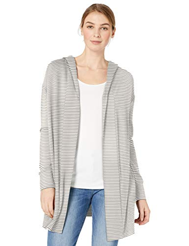 Daily Ritual Women's Supersoft Terry Hooded Open Sweatshirt, White-Black Skinny Stripe, Large