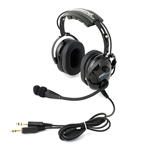 Rugged Air RA900 Black General Aviation Stereo Pilot Headset with Flex (General Aviation Plugs)