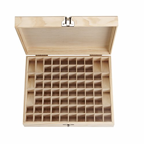 SOLIGT 72 Bottle, Wooden large Essential oil storage Box/Case,Holder Display Case, 64 slots for 5-15ml Bottles plus 8 Slots for roller bottles,Simple Elegant Design
