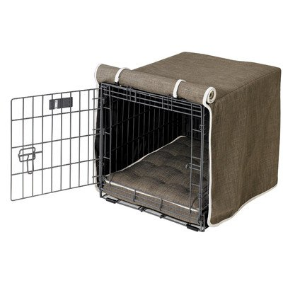 Microlinen Luxury Crate - Luxury Diam Microvelvet Dog Crate Cover Color: Driftwood, Size: Large (23