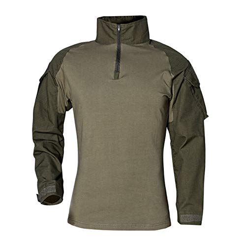 Military Ba Men's Quick Dry UV Protection Long Sleeve Button Down Shirt Green-US M(Chest 41.3 Tag XL)