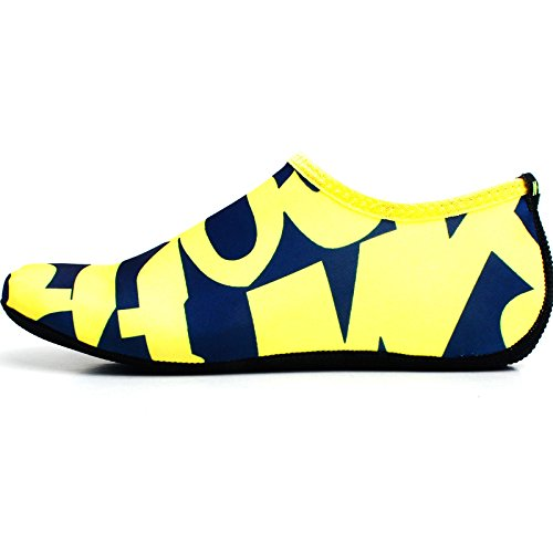 Wowfoot Piel Descalza Zapatos De Piel Calcetines Mujeres Hombres Zapatillas De Natación Flexibles Playa Aqua Surf Pool Yoga Ejercicio Amarillo (patrón)