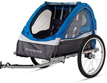 Universal coupler 2-Seater Bike Cycling Trailer Child Kids Baby Seat Blue