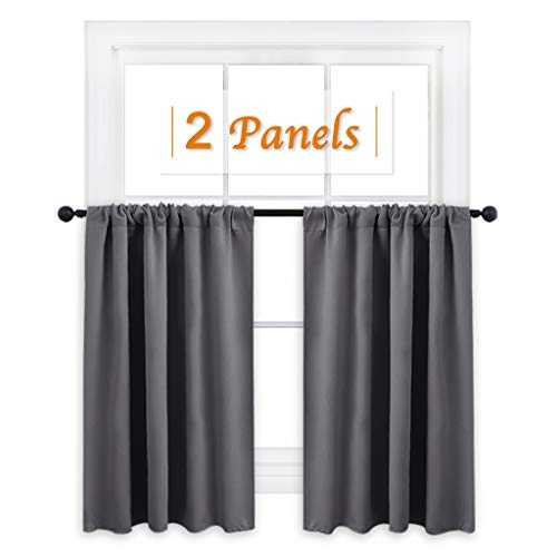 RYB HOME Short Curtains Gray Half Window Curtains for Bedroom, Privacy Curtain Tiers for Windows, Energy Saving Curtain Tiers for Bathroom Shades, Wide 42