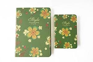 NOVAGO 2 cuadernos de notas - Patrón de flores (Verde)