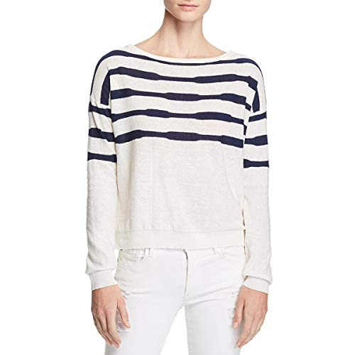 - Splendid Women's Crewneck Long Sleeve Pullover Sweater Sweatshirt, Linen Stripe Navy, Medium