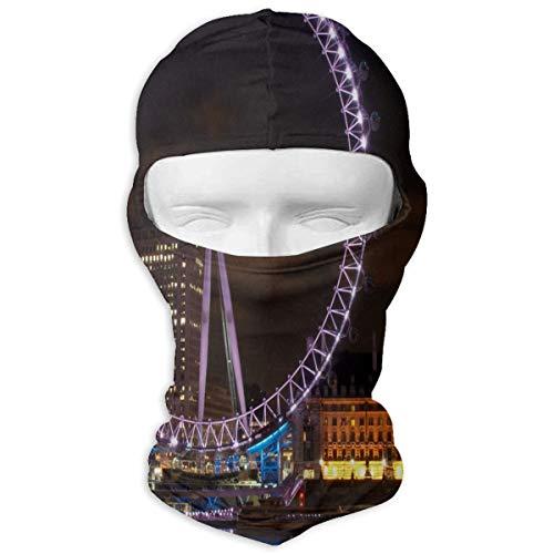 (YIXKC Balaclava Photo of London Eye at Night Stylish Windproof Ski Mask for Men Skiing)