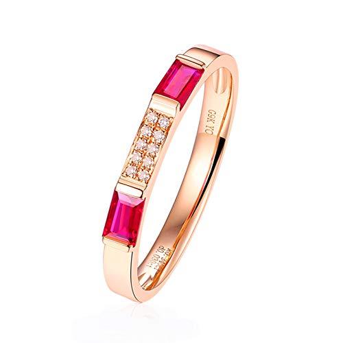 Epinki Women 9K White Gold Ring, 0.34CT Rectangle Shape Ruby Diamond Ring Wedding Anniversary Ring Size 4.5