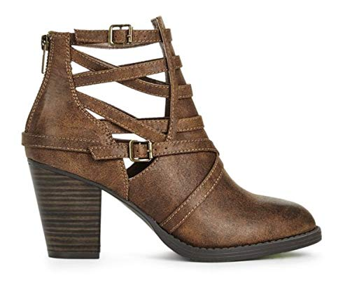 online store a0d02 9ca14 JustFab Bettany Crisscrossed Stacked Heel Bootie 9M Brown