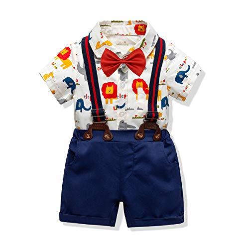 Baby Boys Short Sleeve Gentleman Outfit Suits,Infant Boys Short Pants Set, Short Sleeve Romper Shirt+Suspender Pants +Bow Tie 4Pcs Set (Lion&Elephant, 18-24M/95) ()