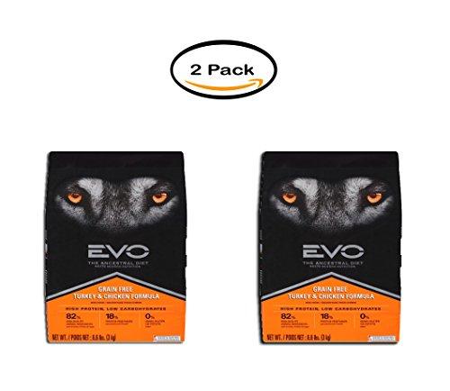 PACK OF 2 - EVO Ancestral Diet Grain-Free Turkey & Chicken Formula Dry Dog Food, 6.6 lb