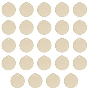 Package of 24 Unfinished Round Wood Christmas Ornaments - Ready to Be Painted and Decorated