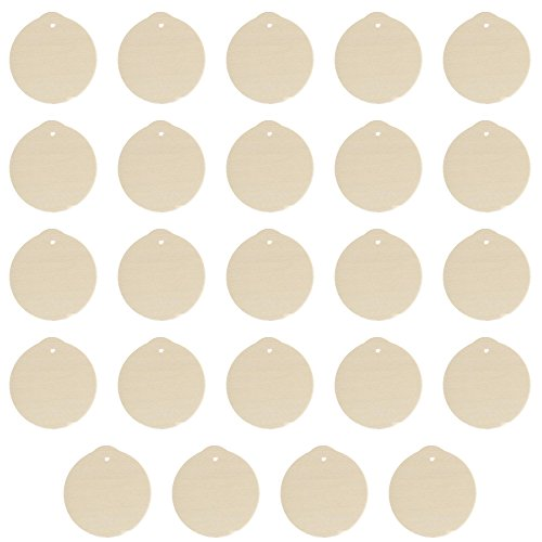 (Factory Direct Craft Package of 24 Unfinished Round Wood Christmas Ornaments - Ready to Be Painted and Decorated)