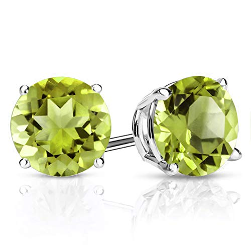 Gem Stone King 925 Sterling Silver Green Peridot Stud Women's Earrings Gemstone Birthstone 2.70 Ctw Round 7MM (Peridot Earrings)