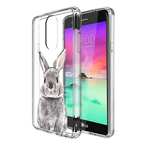 Slim Clear Grey Bunny Case for LG Stylo 4 Customized Design Soft TPU and Rubber Flexible Durable Shockproof LG Stylo 4 Protective Case-Anti-Slippery