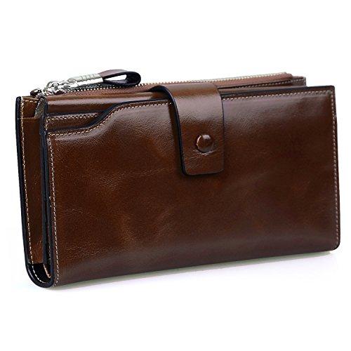 (Jack&Chris Women's RFID Blocking Luxury Wax Genuine Leather Clutch Wallet Card Holder Organizer Ladies Purse, WB301 (coffee))