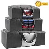 Amurgo Large Capacity Clothes Zipper Storage Bag Organizer, 3 Packs, Clear Window, Sturdy Handle, for Comforters, Blankets, Bedding, Foldable Closet Organizer