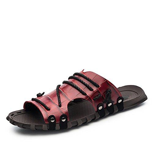Verano Nuevo sandalias de patrón Sandalias de gran tamaño Los zapatos de zurriago de sandalias de ocio no deslizante, rojo, UK = 6, UE = 39