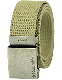 Men's & Boys' Military Web Belt - Adjustable One Size Cotton Strap and Metal Plaque Buckle