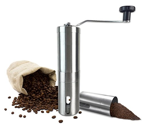 Manual Coffee Grinder with Ceramic Burr Hand Coffee Burr Hand Coffee Mill with Precision Conical Burr, Adjustable, Portable, Stainless Steel, Slim Design By All One Tech (Coffee Mill Kyocera compare prices)