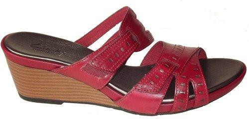 Clarks Lucía Sun sandalia de la cuña Red