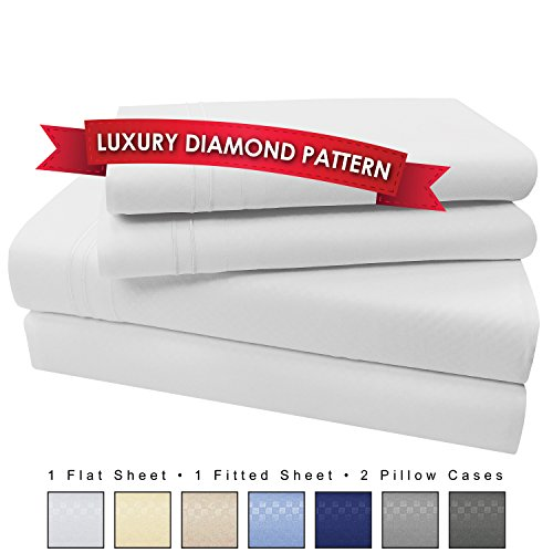 4 Piece Premium Luxury Microfiber Bed Sheet Set- SLEEP BETTER THAN EVER, Ultra Soft Luxury - Egyptian Quality 1600 Series Collection by My Perfect Nights (Queen, White)