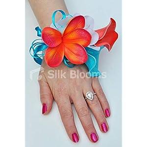 Silk Flower Arrangements Silk Blooms Ltd Artificial Blue and Orange Calla Lily Wrist Corsage w/Frangipani and White Hydrangea