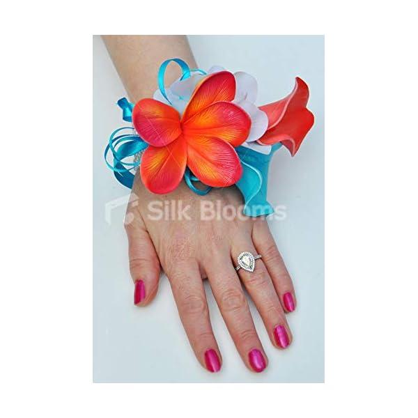 Silk Blooms Ltd Artificial Blue and Orange Calla Lily Wrist Corsage w/Frangipani and White Hydrangea