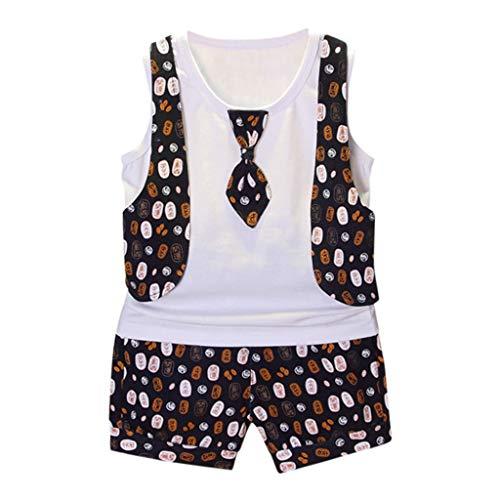 Transser Toddler Boy Clothes Suit, Gentleman Printing Bow Tie Vest Shirt + Short Pants Outfit Set 6M-3Y ()