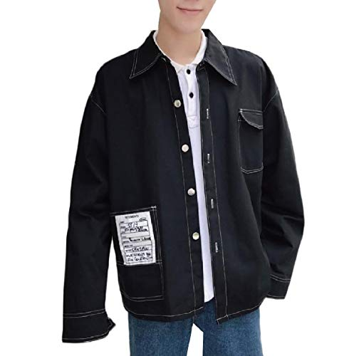 Black Juniors Coat Classic Outwear Mens Loose Fit Loose XINHEO Button Cotton 1wUqfn6
