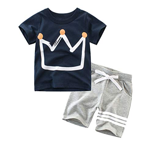 Dreamaxhp Boys' Cotton Sleepawear Crown My Little Prince Pajamas Set(6T, Dark Blue)