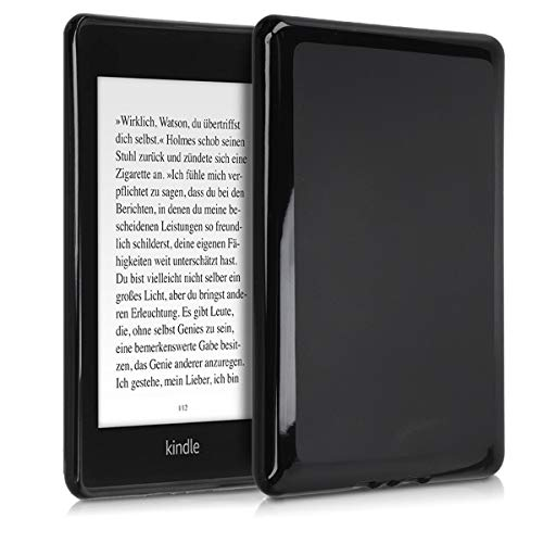 kwmobile Case for Amazon Kindle Paperwhite (10. Gen - 2018) - Soft TPU Silicone Skin Protective e-Reader Back Cover - Black Matte