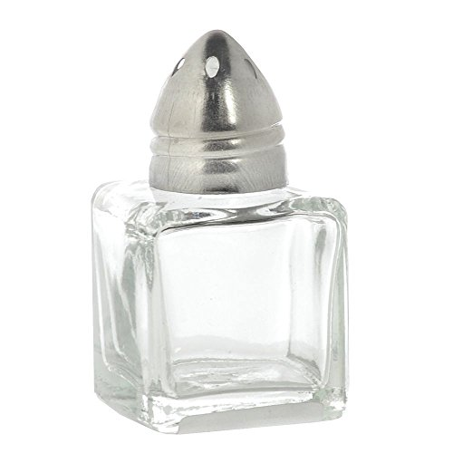 (HUBERT Salt and Pepper Shaker with Stainless Steel Top, 0.5 Ounce, Glass)