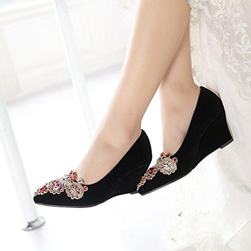 YE Damen Spitze High Heels Keilabsatz Pumps mit Strass Hochzeit Elegant Schuhe Schwarz