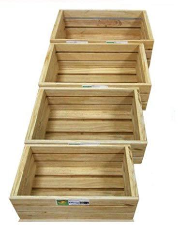 EM Home 4 Piezas Caja de Almacenamiento,Caja de Madera Fruta,También Puede Vender