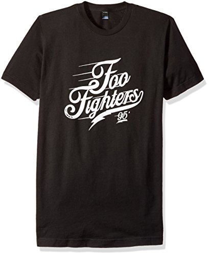 FEA Men's Foo Fighters Adult Short Sleeve T-Shirt, Script Logo Black, (Foo Fighters Merchandise)