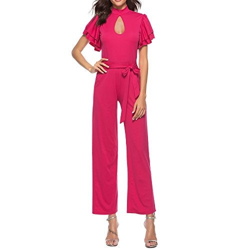 IyMoo Womens Sexy High Neck Hollow Out Double Layer Falbala Short Sleeve Back Zip Straight Wide Leg Jumpsuits Rompoer Rose Red L Sexy Double Zip