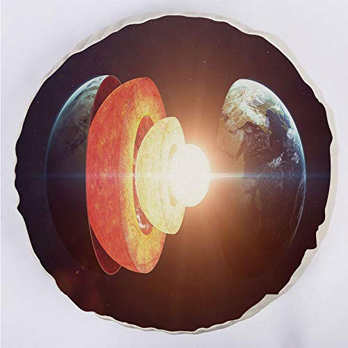 Round Decorative Throw Pillow Floor Meditation Cushion Seating/Core of the Earth Structure Burning Magma Geomagnetic Tectonic Split Decorative/for Home Decoration 17