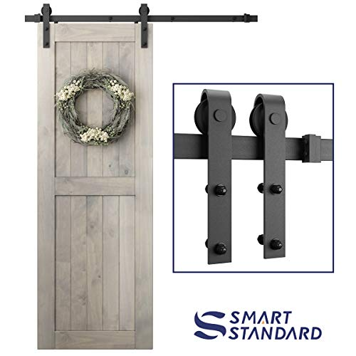 SMARTSTANDARD 5ft Heavy Duty Sturdy Sliding Barn Door Hardware Kit -Smoothly and Quietly -Easy to Install -Includes Step-by-Step Installation Instruction Fit 30 Wide Door Panel (J Shape Hanger)