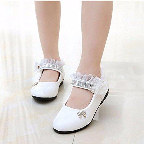 CCFAMILY Children GirlFashionPrincess Flower Rhinestone Dance Toddler Sandals Shoes White