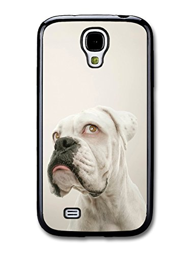 Cute White Boxer With Funny Face coque pour Samsung Galaxy S4