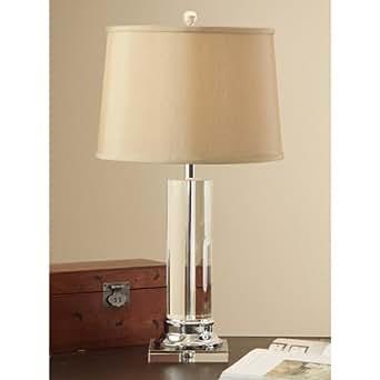 Modern Contemporary Crystal Column Table Lamp Tan Shade