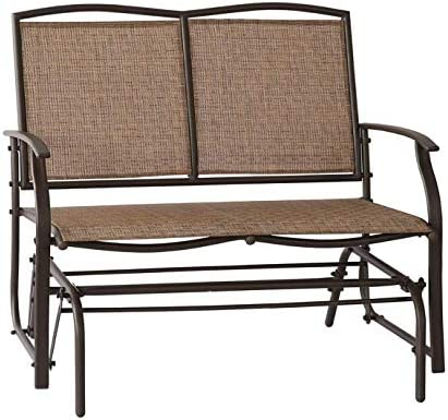 Leissu Patio Glider Swing Bench 2 Persons Outdoor Loveseat, Rocking Chair, Brown